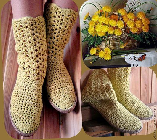 """Обувь ручной работы. Ярмарка Мастеров - ручная работа. Купить Сапожки """"Лимончики """". Handmade. Лимонный, бохо, кантри"""