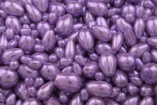 Стеклянные бусины под жемчуг ассорти (фиолетовый) 7-15 мм Цена указана за 50 г При заказе указывайте цвет и количество грамм!