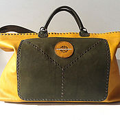 Сумки и аксессуары handmade. Livemaster - original item Leather handbag, yellow and olive leather, art 003 be happy. Handmade.