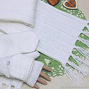 Аксессуары handmade. Livemaster - original item Scarf knitted with textured stripes and White tassels. Handmade.