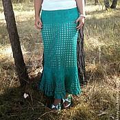 """Одежда ручной работы. Ярмарка Мастеров - ручная работа Вязаная юбка в пол, """"Лето зеленого цвета"""" длинная юбка. Handmade."""