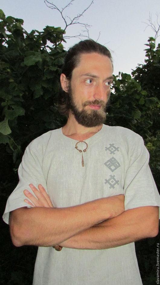 """Этническая одежда ручной работы. Ярмарка Мастеров - ручная работа. Купить Рубашка мужская """" Даждьбог"""". Handmade. Серый, рубаха"""