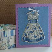 Открытки handmade. Livemaster - original item Cross stitch postcard Summer dress. Handmade.