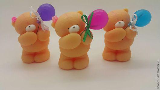 Мыло ручной работы. Ярмарка Мастеров - ручная работа. Купить Мишутка с шариком. Handmade. Оранжевый, шарик, мыло в подарок, подарок