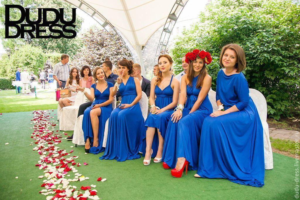 Платья подружек невесты синего цвета