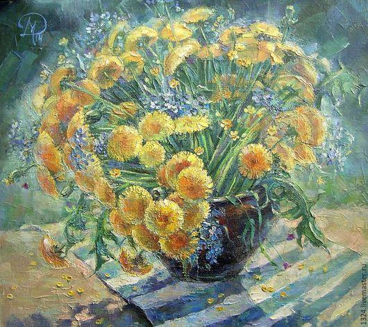Картины цветов ручной работы. Ярмарка Мастеров - ручная работа. Купить картина Весеннее солнце  Одуванчики масло холст. Handmade.
