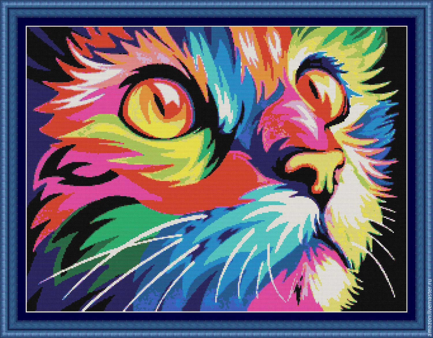 "Set for embroidery with beads ""RAINBOW CAT"" ( Pop Art), Creator\'s Kit, Ufa,  Фото №1"