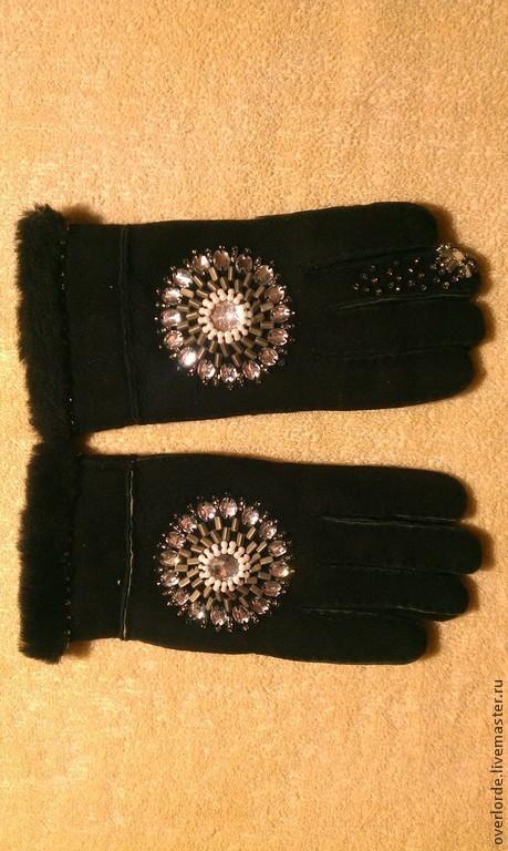 """Варежки, митенки, перчатки ручной работы. Ярмарка Мастеров - ручная работа. Купить Перчатки """"Зимние"""". Handmade. Черный, овчина, автоская"""