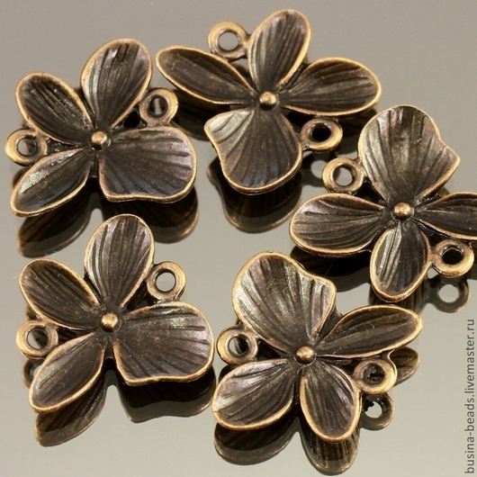 Подвеска Орхидея из металлического сплава с покрытием античная медь для использования в сборке украшений в качестве коннектора по 5 штук