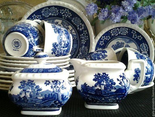 Винтажная посуда. Ярмарка Мастеров - ручная работа. Купить Villeroy&Boch Rusticana (20 пр) Кофейный набор. Handmade. Голубой