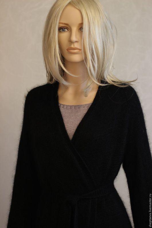 Кофты и свитера ручной работы. Ярмарка Мастеров - ручная работа. Купить Женский кардиган из альпаки и мохера. Handmade. Черный