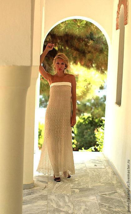 """Платья ручной работы. Ярмарка Мастеров - ручная работа. Купить платье """"Свет"""". Handmade. Бежевый, платье летнее, шелк, пайетки"""