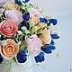 """Интерьерные композиции ручной работы. Цветочная композиция """"La Rose sucree"""". 'Ручные цветы'   Татьяна Косова. Ярмарка Мастеров. Сахарница"""