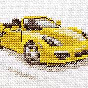 """Картины и панно ручной работы. Ярмарка Мастеров - ручная работа Вышивка """"Желтый спорткар"""" (готовая работа). Handmade."""