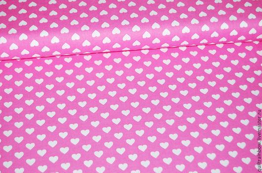 """Шитье ручной работы. Ярмарка Мастеров - ручная работа. Купить Хлопок """"Сердечки"""". Handmade. Розовый, хлопок американский, ткань с сердечками"""
