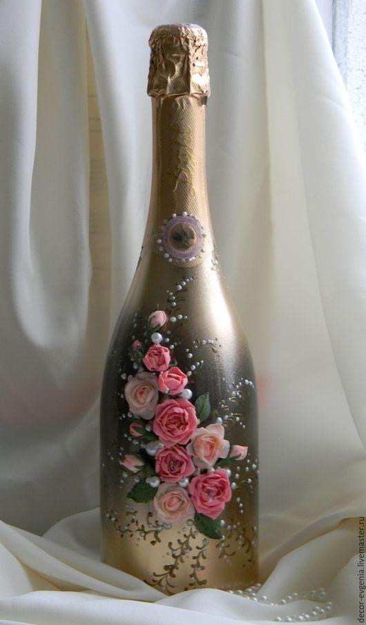 Подарочное оформление бутылок ручной работы. Ярмарка Мастеров - ручная работа. Купить Праздничный декор бутылки с розами. Handmade. Розовый