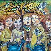 Картины и панно handmade. Livemaster - original item Oil painting Angels-gardeners, Tits, watering cans, spring. Handmade.
