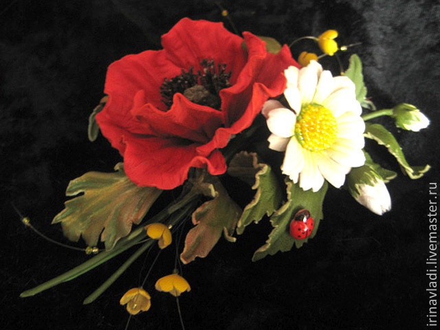 the colors of the skin. brooch made of leather, leather brooch, corsage flower brooch, jewelry, leather, bouquet of field flowers, boutonniere leather, hair leather poppy hair clip from the skin chamo