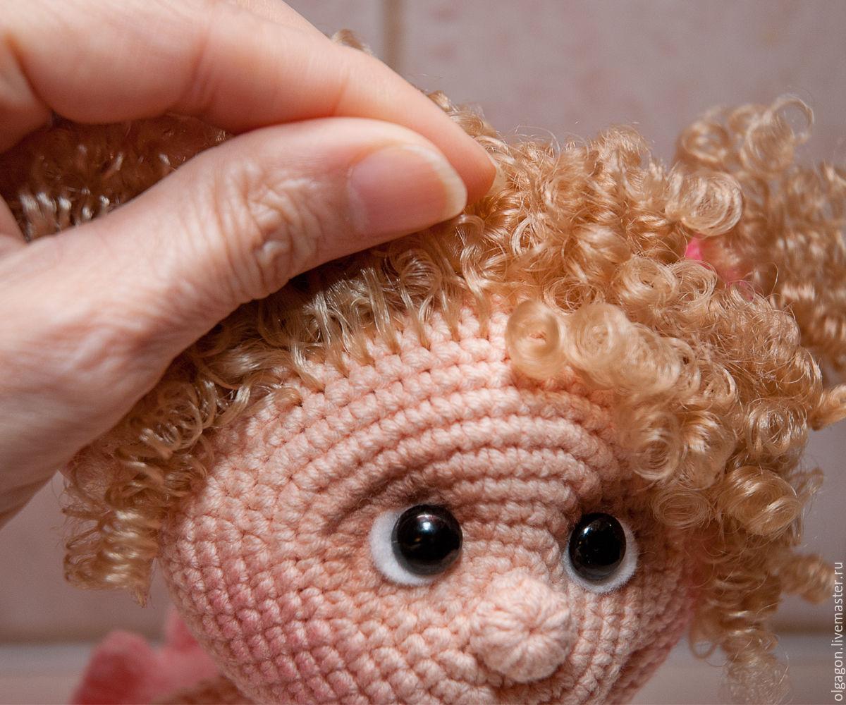 крепление волос к вязаным куклам