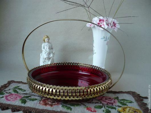 Винтажная посуда. Ярмарка Мастеров - ручная работа. Купить Ваза / конфетница, металл,  рубиновое стекло, Австрия / Чехия. Handmade.