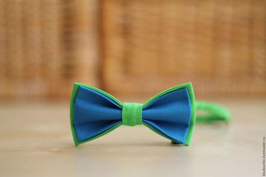 Галстуки, бабочки ручной работы. Ярмарка Мастеров - ручная работа. Купить Бабочка салатово-голубая детская/взрослая. Handmade. Голубой