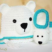 Работы для детей, ручной работы. Ярмарка Мастеров - ручная работа Белый мишка - комплект для новорожденных. Handmade.