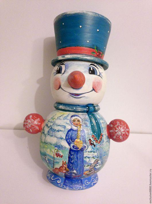 """Персональные подарки ручной работы. Ярмарка Мастеров - ручная работа. Купить Снеговик """"Эксклюзивный"""". Handmade. Комбинированный, персональный подарок"""