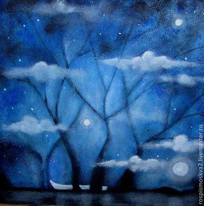 Пейзаж ручной работы. Ярмарка Мастеров - ручная работа Картина  Найди  лодочку -2 акрил 30Х24 пейзаж  деревья  дом синий. Handmade.