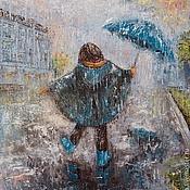 Картины и панно ручной работы. Ярмарка Мастеров - ручная работа Картина. А сапожки к зонтику. Масло, холст на подр., мастихин, 40х50. Handmade.