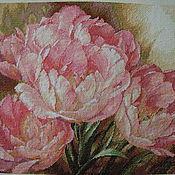 Картины и панно ручной работы. Ярмарка Мастеров - ручная работа Вышивка крестом Tulip Trio (Трио тюльпанов). Handmade.