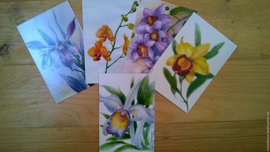 """Открытки для женщин, ручной работы. Ярмарка Мастеров - ручная работа. Купить набор почтовых открыток """" Орхидеи """". Handmade."""