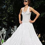 Одежда handmade. Livemaster - original item White tiered summer skirt Assol cotton. Handmade.