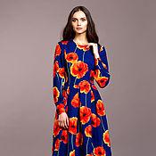 Одежда ручной работы. Ярмарка Мастеров - ручная работа Синее платье с цветочным принтом . Красивое летнее платье Миди. Handmade.