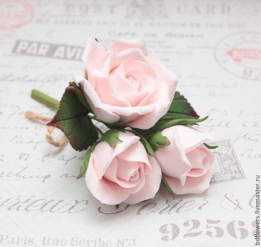 Свадебные украшения ручной работы. Ярмарка Мастеров - ручная работа. Купить Букетик роз из полимерной глины. Handmade. Бледно-розовый
