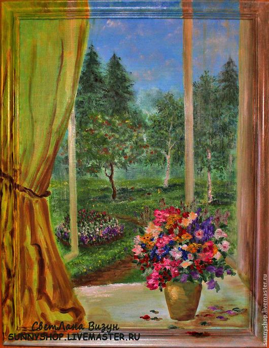 """Пейзаж ручной работы. Ярмарка Мастеров - ручная работа. Купить Картина маслом в раме  """"Вид из окна""""  (пейзаж). Handmade."""