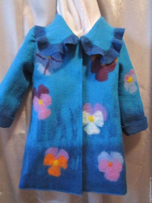 Пальто валяное для девочки утепленное