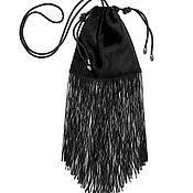 handmade. Livemaster - original item Bag of velvet with a fringe of beads LADY NIGHT. Handmade.