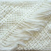 Аксессуары handmade. Livemaster - original item Shawl knitted Emma 220x150x150 white crochet with tassels #314. Handmade.