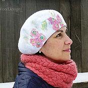 Аксессуары ручной работы. Ярмарка Мастеров - ручная работа Валяный берет, женская шапка весенняя красивая белая. Handmade.