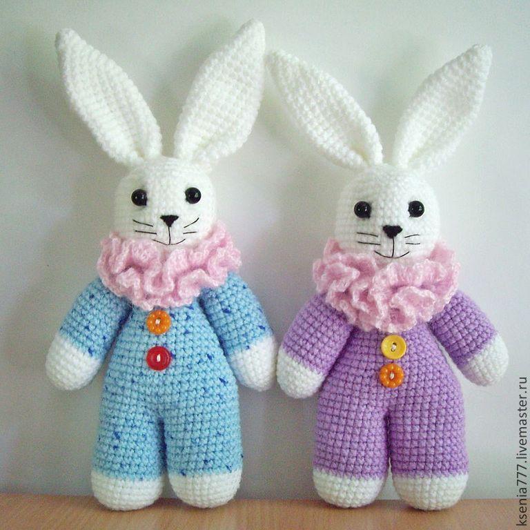 вязаная игрушка заяц мазаец зайчик для детей купить в интернет