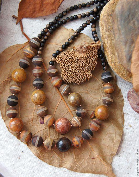Колье, бусы ручной работы. Ярмарка Мастеров - ручная работа. Купить Бусы из агата ЛЬВИНЫЙ ПРАЙД натуральные камни, дерево. Handmade.