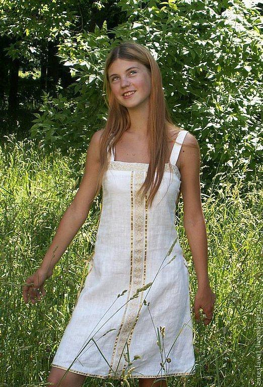 """Платья ручной работы. Ярмарка Мастеров - ручная работа. Купить Сарафан льняной """"Варвара"""". Handmade. Белый, сарафан, льняное платье"""