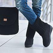 Обувь ручной работы. Ярмарка Мастеров - ручная работа Комплект сапоги и сумка валяные felting and knitting Black. Handmade.