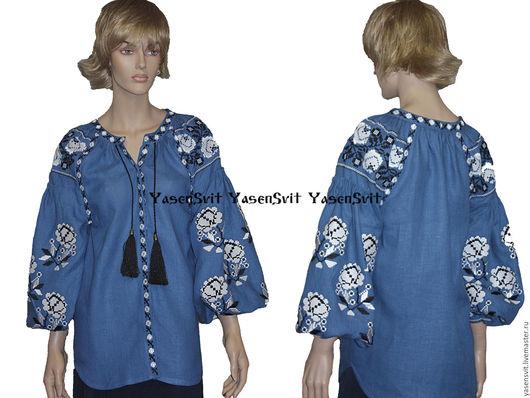 Блузки ручной работы. Ярмарка Мастеров - ручная работа. Купить Вышитая блузка рубашка Вита Кин Стиль. Handmade. Голубой