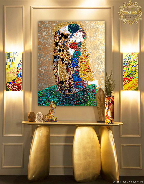 Картина с полудрагоценными камнями и золотой поталью Климт Поцелуй, Картины, Санкт-Петербург,  Фото №1