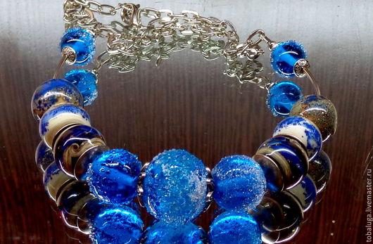 Колье, бусы ручной работы. Ярмарка Мастеров - ручная работа. Купить Колье И снова море синее лэмпворк.. Handmade.