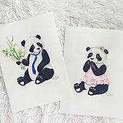 """Картины и панно handmade. Livemaster - original item """"Панда""""  Набор из 2-х акварелей. Handmade."""