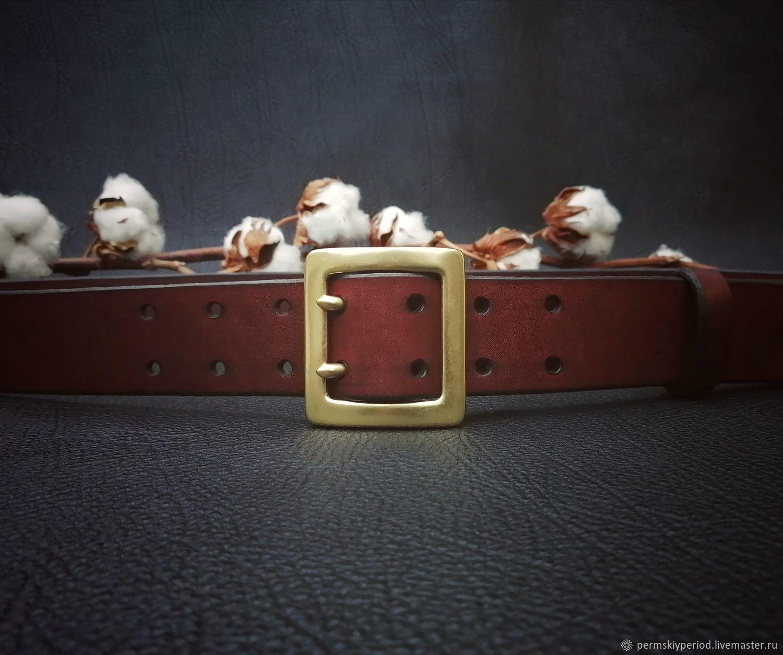 Классический ремень. Латунная пряжка с двумя язычками, ширина 40 мм, Ремни, Пермь,  Фото №1