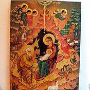 Картины и панно ручной работы. Ярмарка Мастеров - ручная работа Рождество Христово  икона писаная горячими красками на дерево. Handmade.
