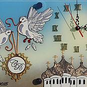 """Для дома и интерьера ручной работы. Ярмарка Мастеров - ручная работа Часы """"Голубиная свадьба"""". Handmade."""